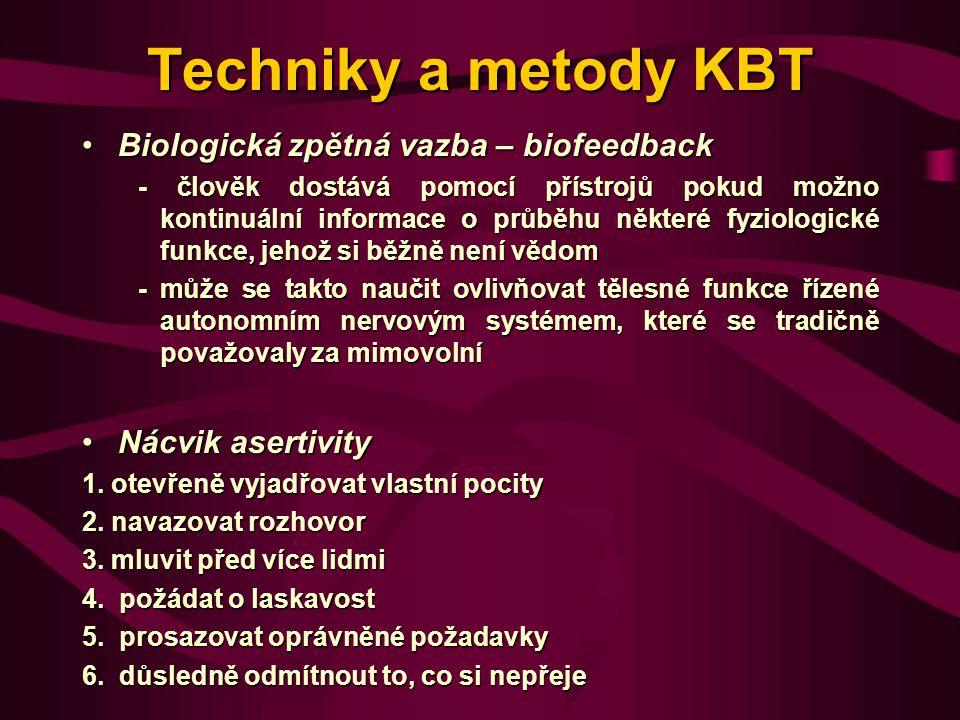 Techniky a metody KBT Biologická zpětná vazba – biofeedback