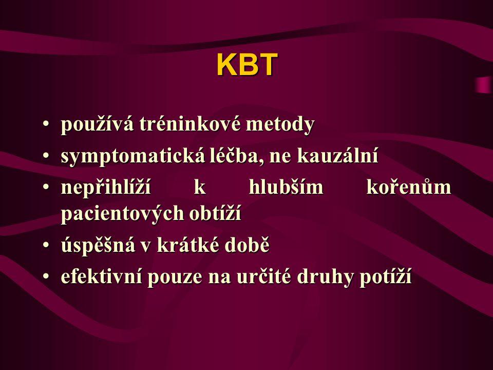 KBT používá tréninkové metody symptomatická léčba, ne kauzální