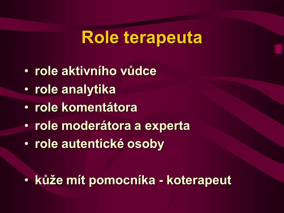 Role terapeuta role aktivního vůdce role analytika role komentátora