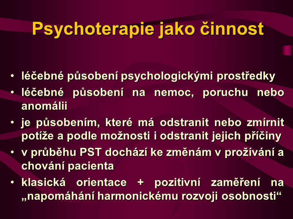 Psychoterapie jako činnost