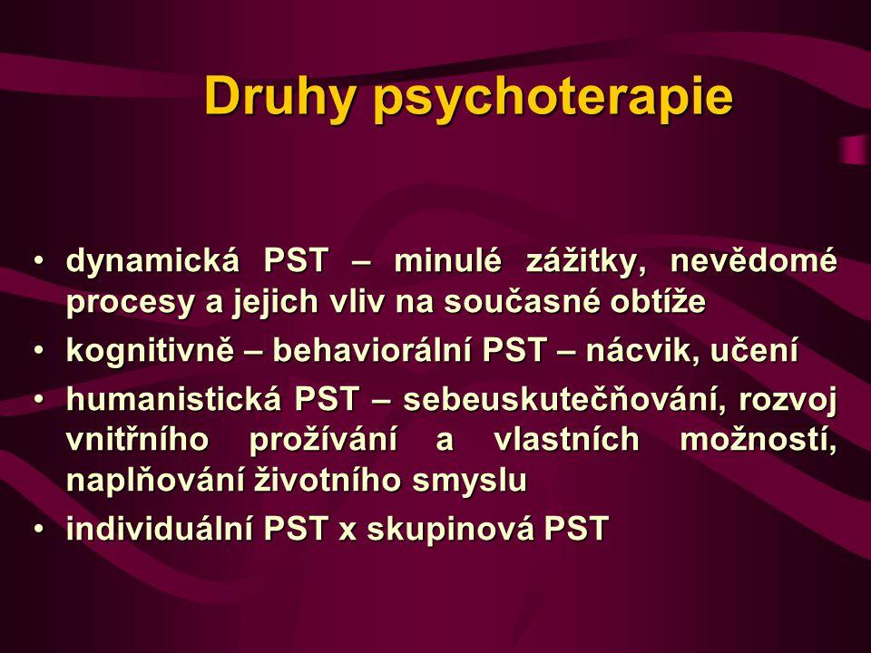 Druhy psychoterapie dynamická PST – minulé zážitky, nevědomé procesy a jejich vliv na současné obtíže.