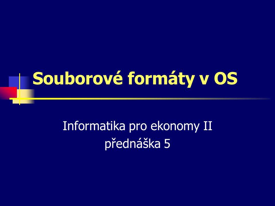 Informatika pro ekonomy II přednáška 5