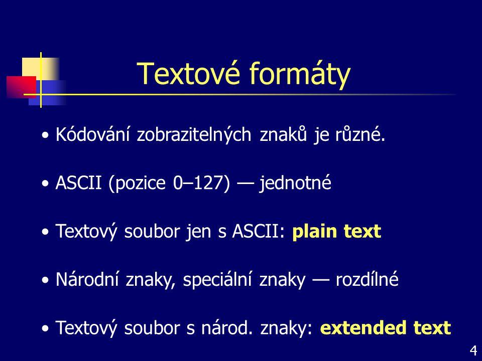 Textové formáty Kódování zobrazitelných znaků je různé.