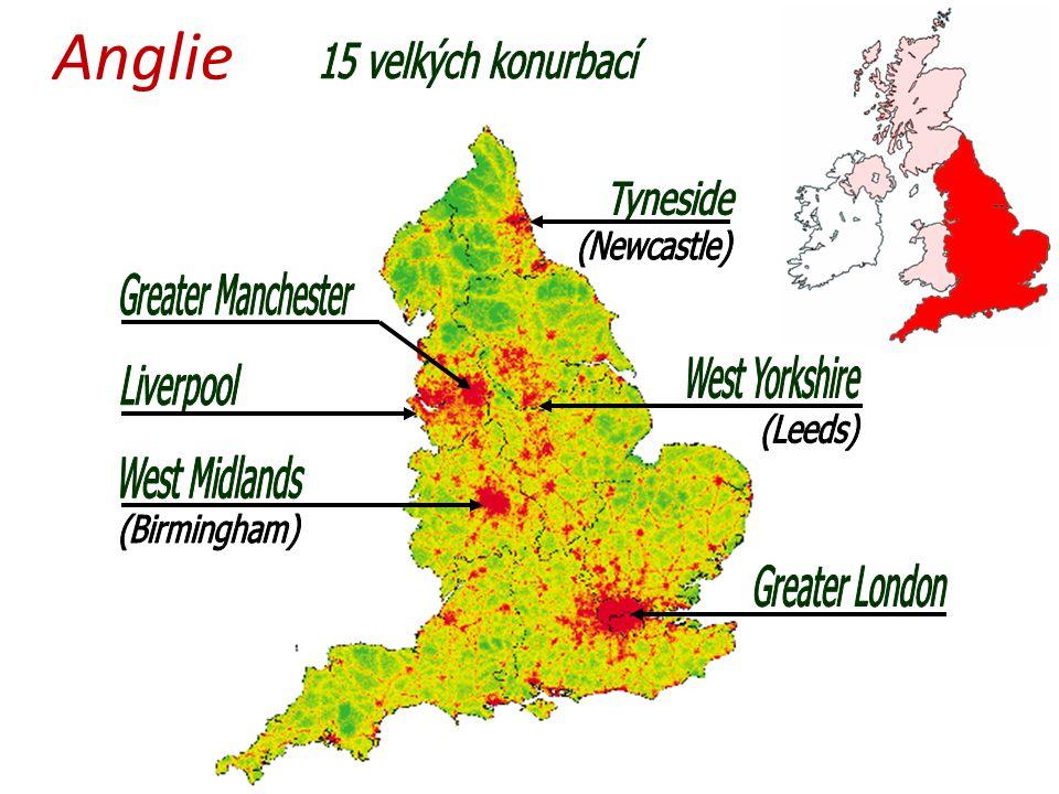 Anglie 15 velkých konurbací Tyneside Greater Manchester West Yorkshire