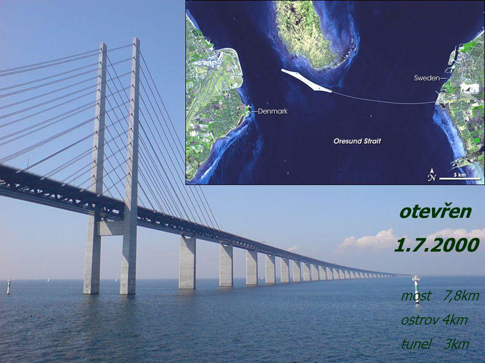otevřen 1.7.2000 most 7,8km ostrov 4km tunel 3km