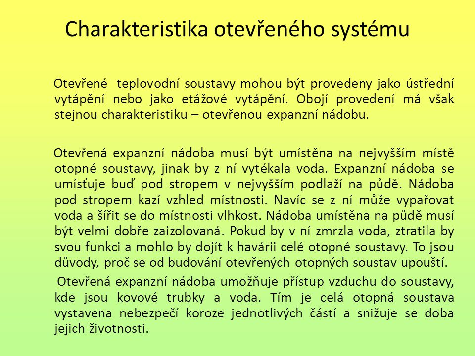 Charakteristika otevřeného systému