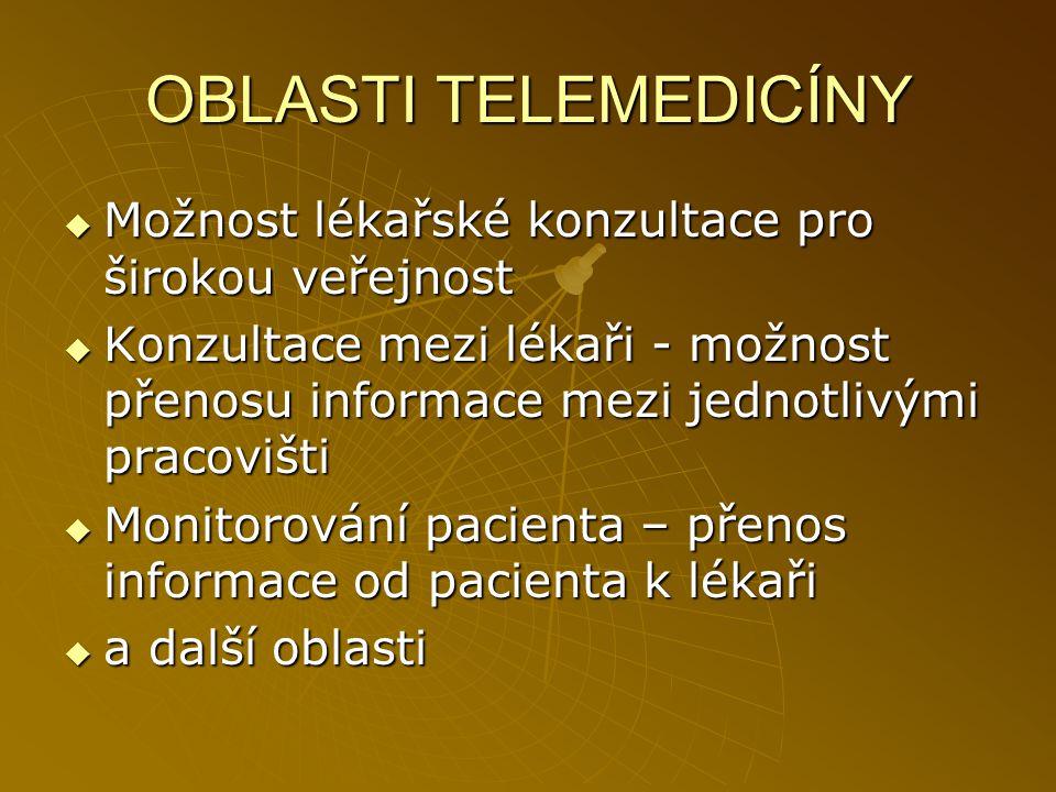 OBLASTI TELEMEDICÍNY Možnost lékařské konzultace pro širokou veřejnost
