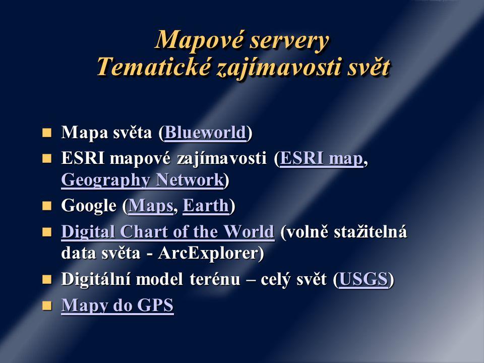Mapové servery Tematické zajímavosti svět