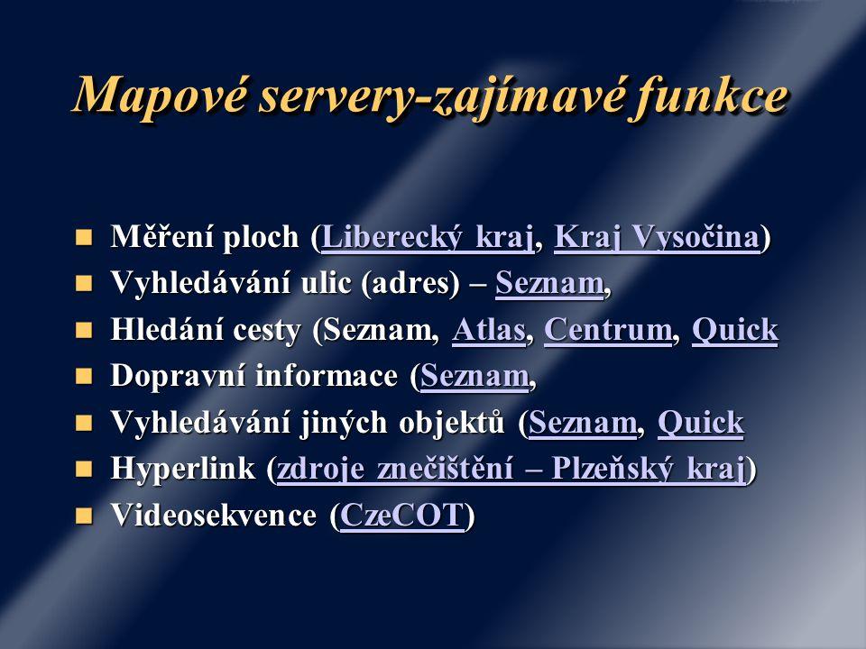 Mapové servery-zajímavé funkce