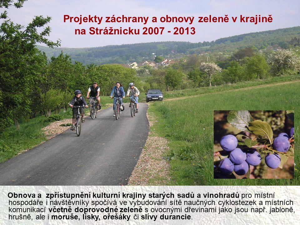 Projekty záchrany a obnovy zeleně v krajině na Strážnicku 2007 - 2013