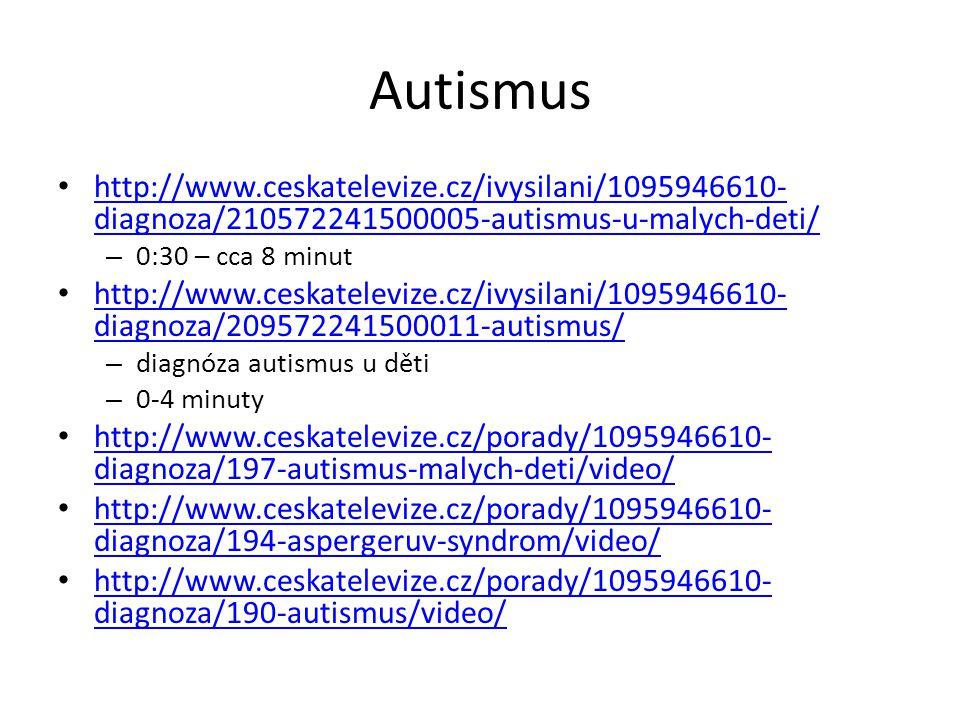 Autismus http://www.ceskatelevize.cz/ivysilani/1095946610-diagnoza/210572241500005-autismus-u-malych-deti/