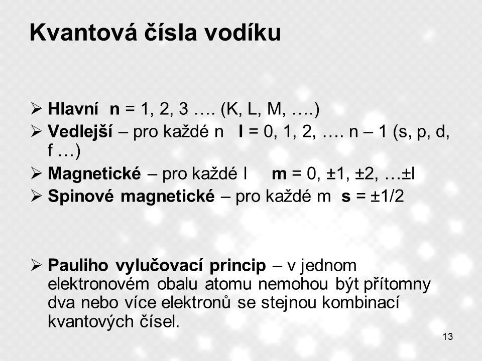 Kvantová čísla vodíku Hlavní n = 1, 2, 3 …. (K, L, M, ….)
