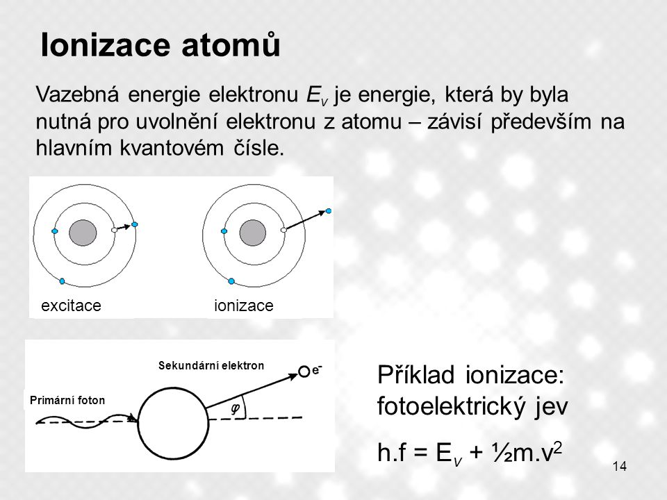 Ionizace atomů Příklad ionizace: fotoelektrický jev h.f = Ev + ½m.v2