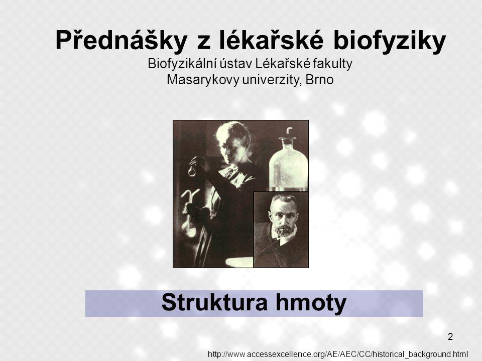 Přednášky z lékařské biofyziky Biofyzikální ústav Lékařské fakulty Masarykovy univerzity, Brno