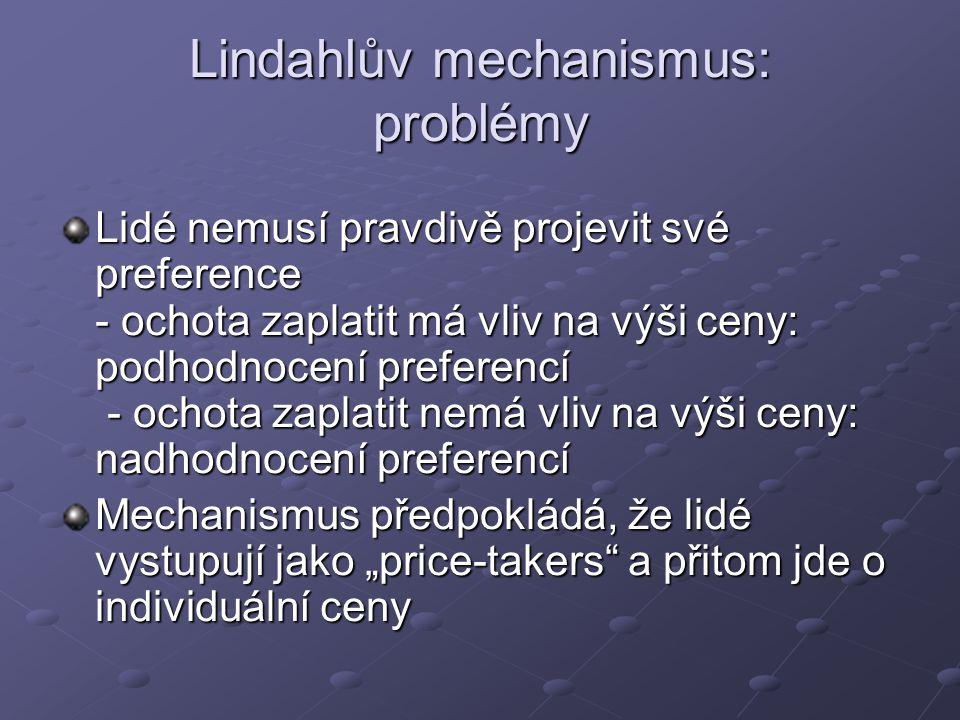 Lindahlův mechanismus: problémy
