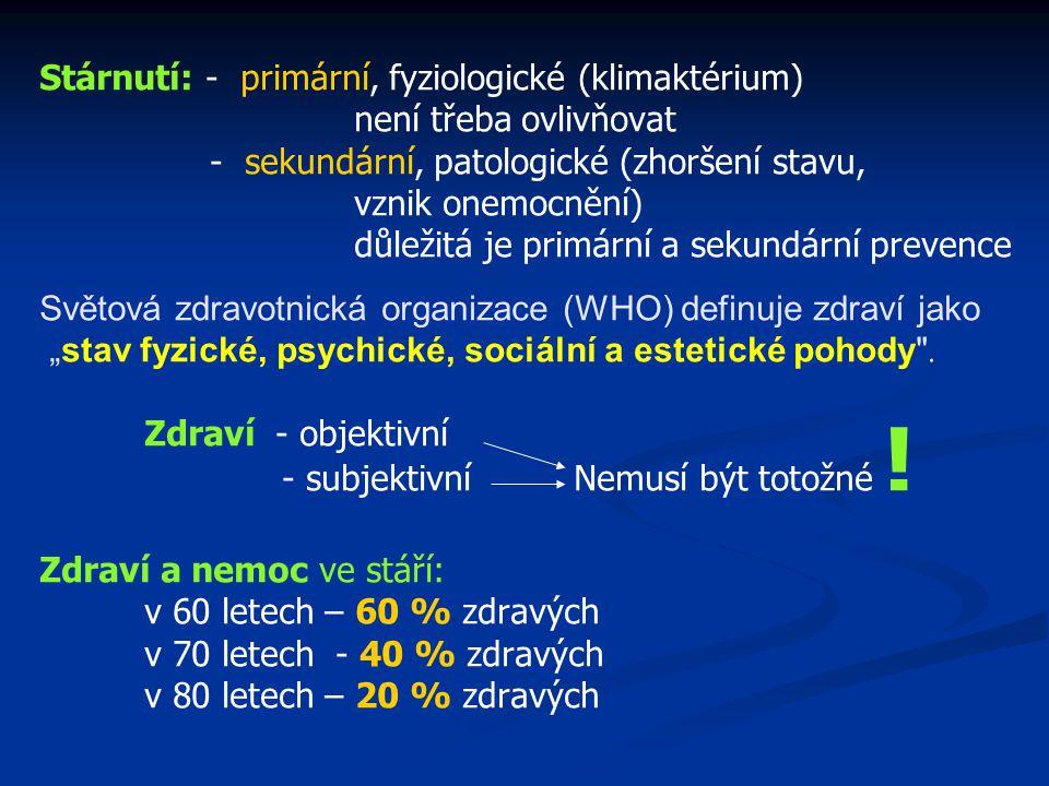Stárnutí: - primární, fyziologické (klimaktérium)