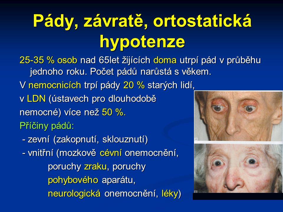 Pády, závratě, ortostatická hypotenze