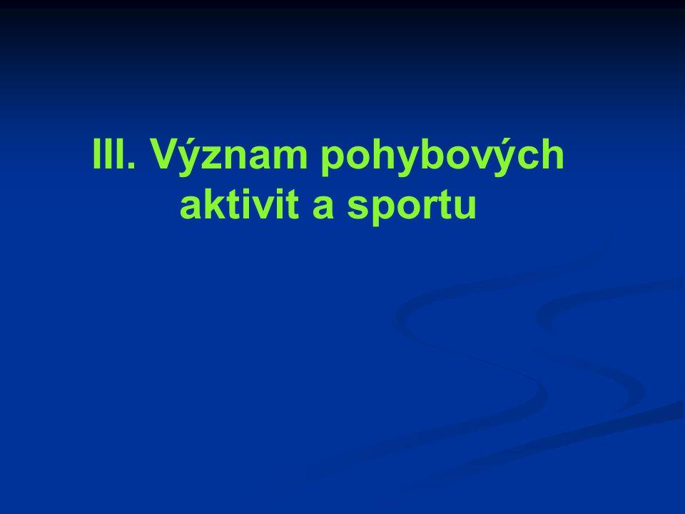 III. Význam pohybových aktivit a sportu