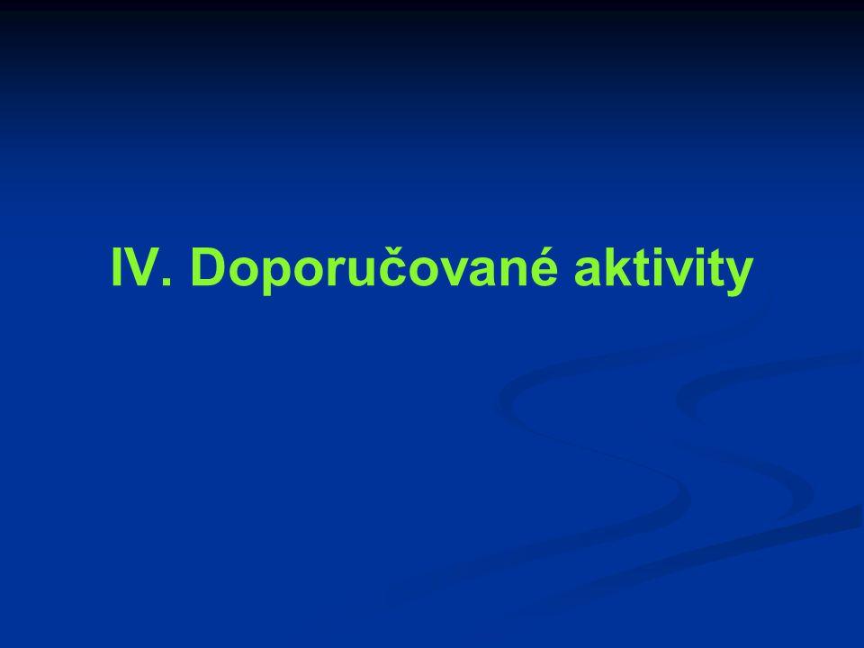 IV. Doporučované aktivity