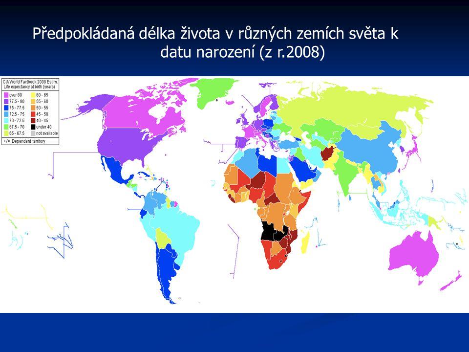 Předpokládaná délka života v různých zemích světa k datu narození (z r.2008)