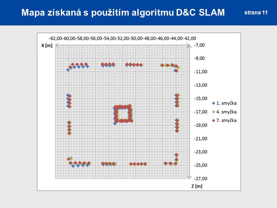 Mapa získaná s použitím algoritmu D&C SLAM