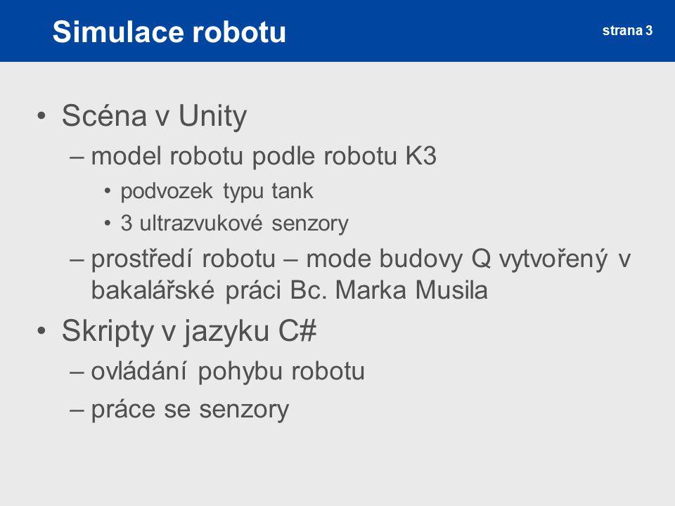 Simulace robotu Scéna v Unity Skripty v jazyku C#