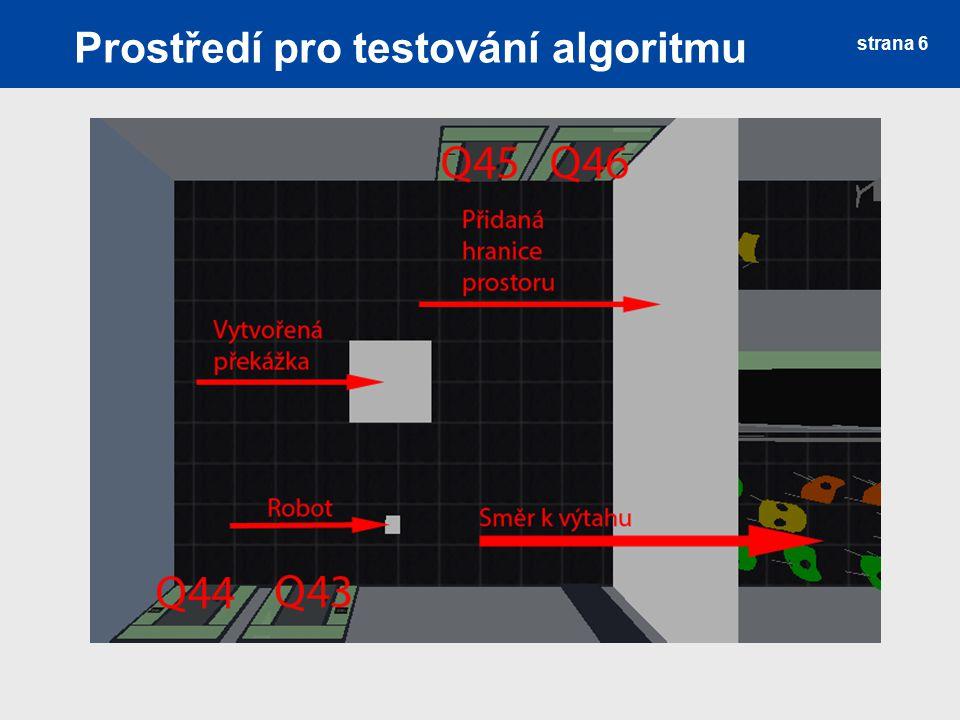 Prostředí pro testování algoritmu