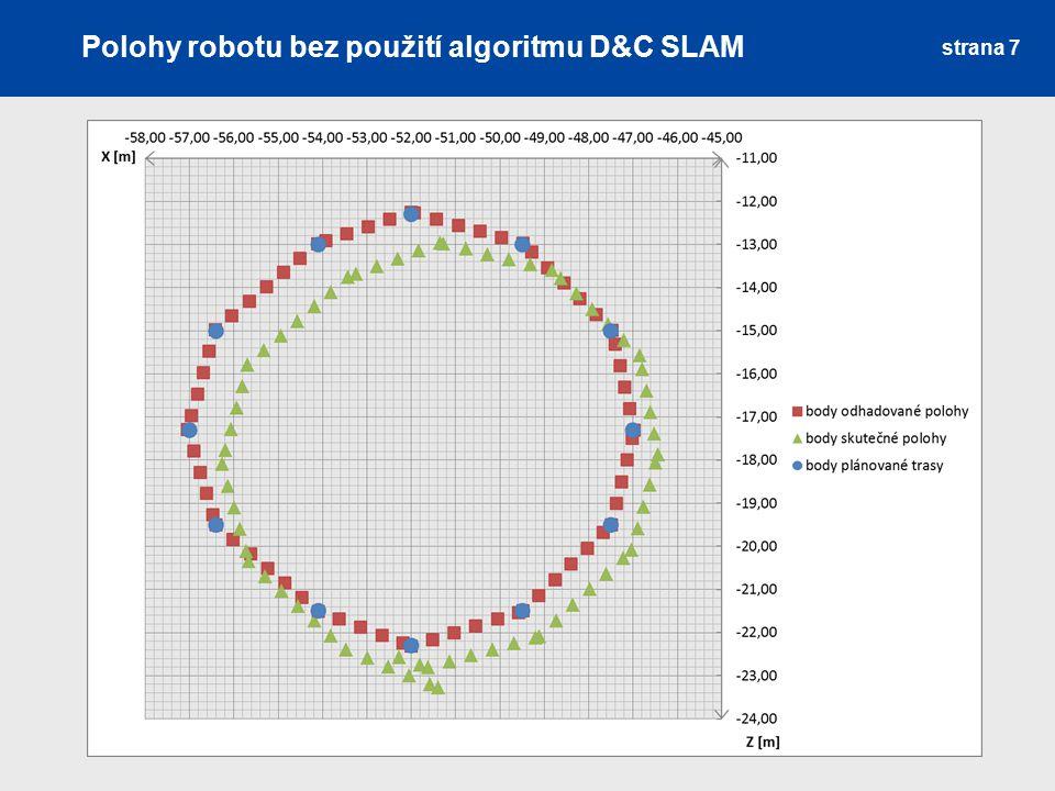 Polohy robotu bez použití algoritmu D&C SLAM
