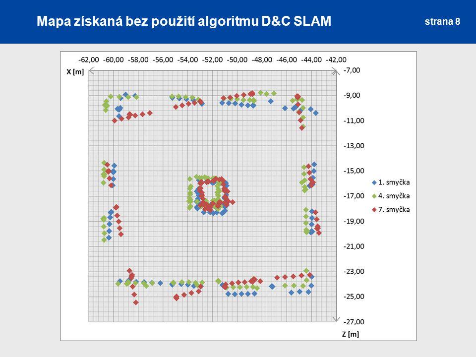 Mapa získaná bez použití algoritmu D&C SLAM