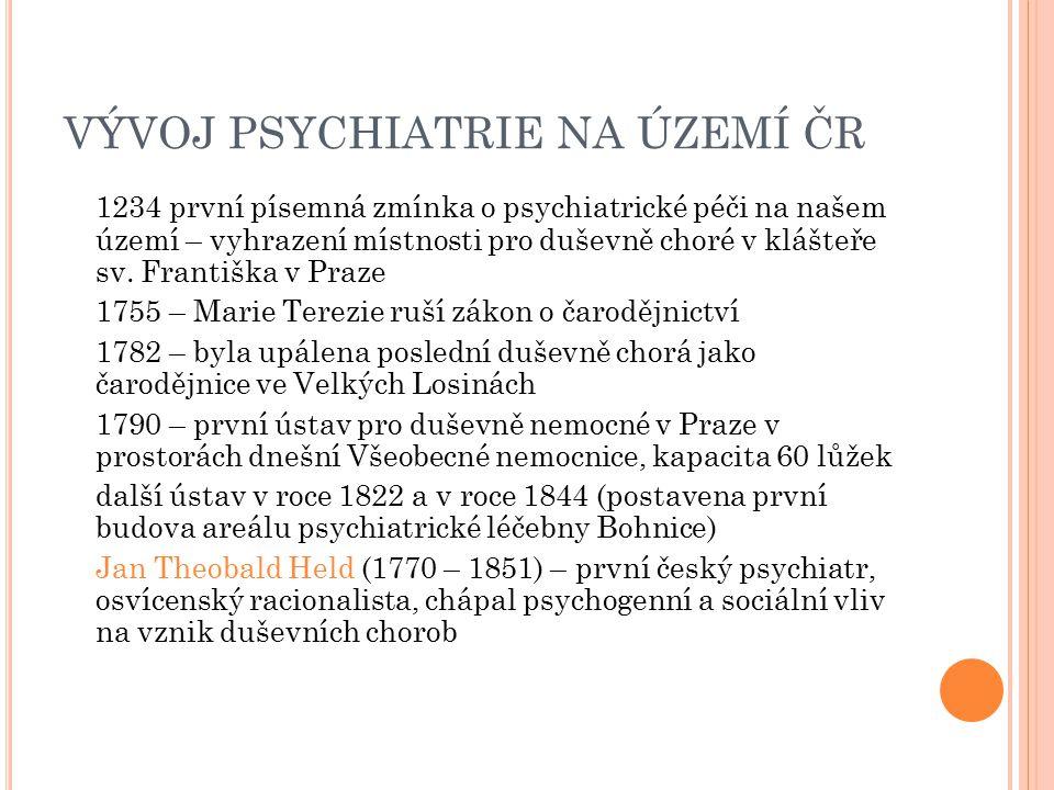 VÝVOJ PSYCHIATRIE NA ÚZEMÍ ČR