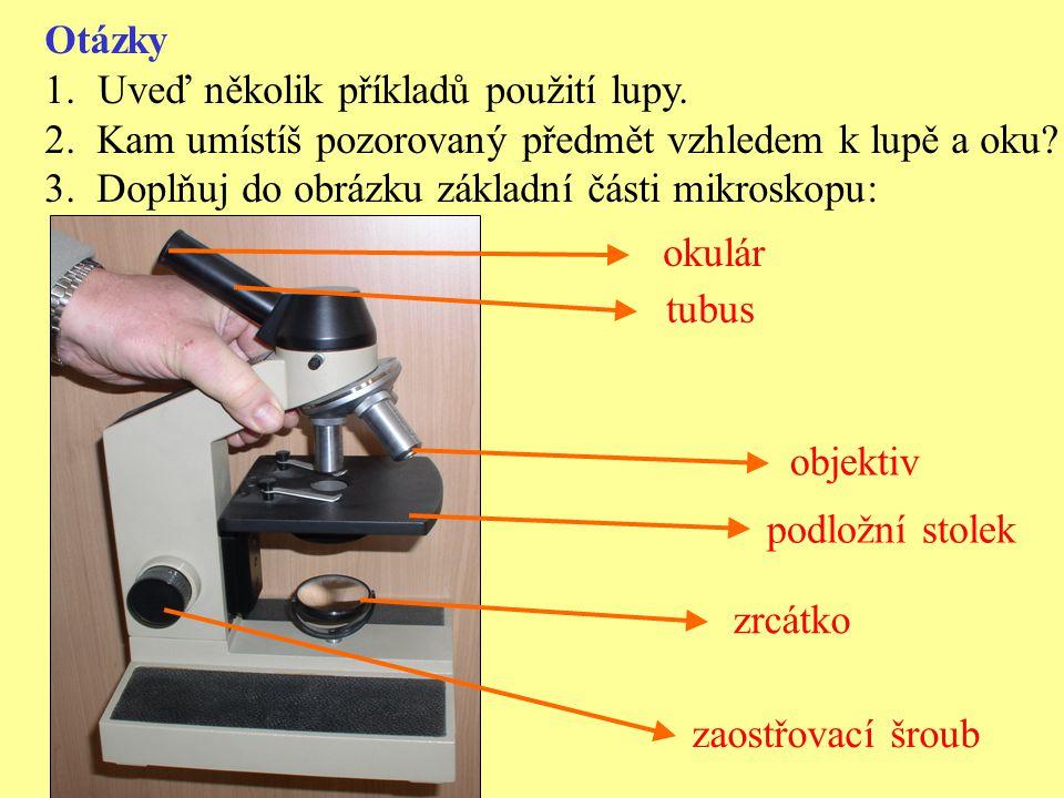 Otázky Uveď několik příkladů použití lupy. 2. Kam umístíš pozorovaný předmět vzhledem k lupě a oku