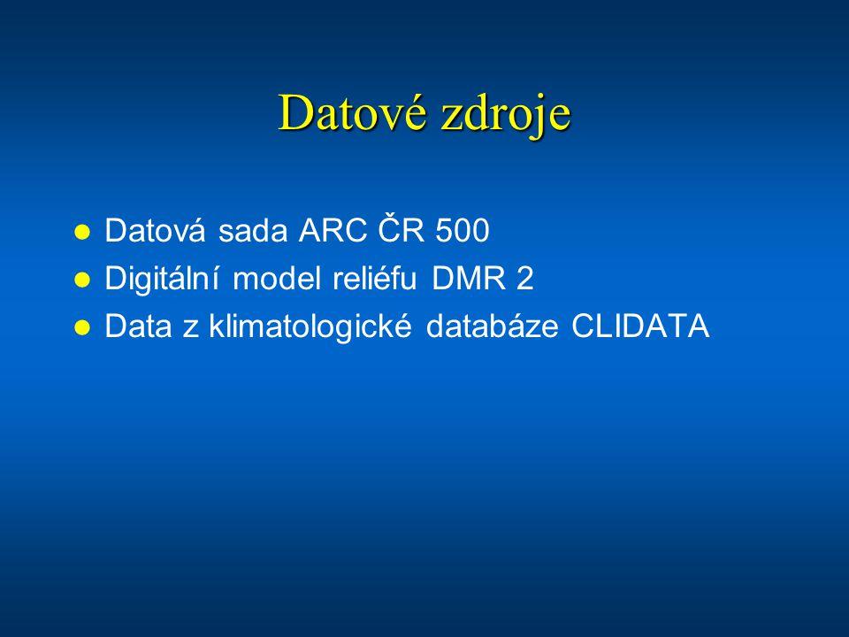 Datové zdroje Datová sada ARC ČR 500 Digitální model reliéfu DMR 2