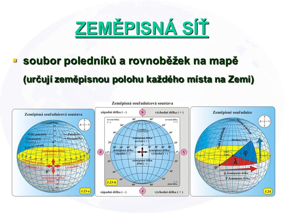 ZEMĚPISNÁ SÍŤ soubor poledníků a rovnoběžek na mapě (určují zeměpisnou polohu každého místa na Zemi)