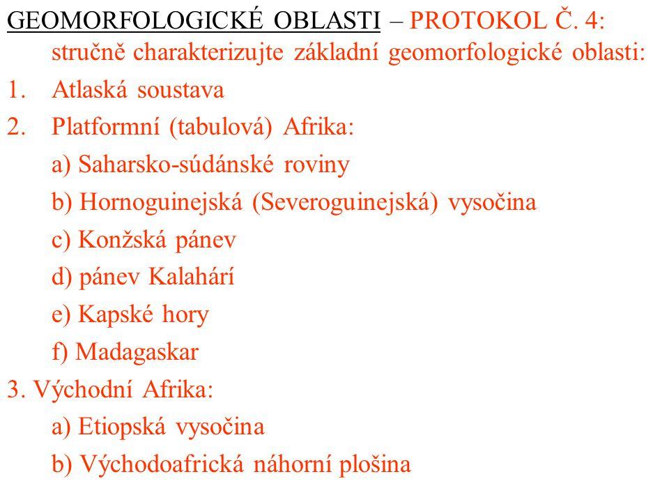 GEOMORFOLOGICKÉ OBLASTI – PROTOKOL Č