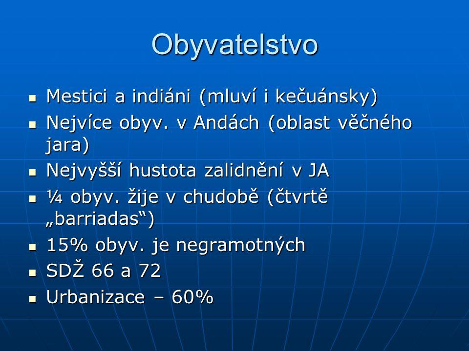 Obyvatelstvo Mestici a indiáni (mluví i kečuánsky)