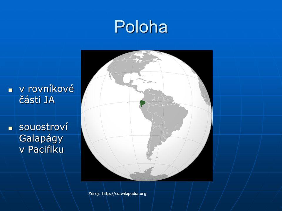 Poloha v rovníkové části JA souostroví Galapágy v Pacifiku