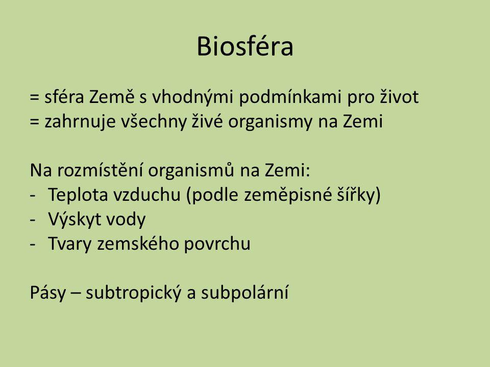 Biosféra = sféra Země s vhodnými podmínkami pro život