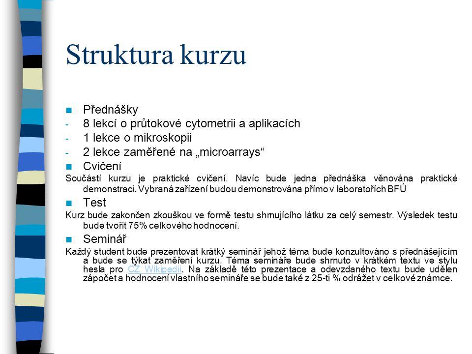 Struktura kurzu Přednášky 8 lekcí o průtokové cytometrii a aplikacích