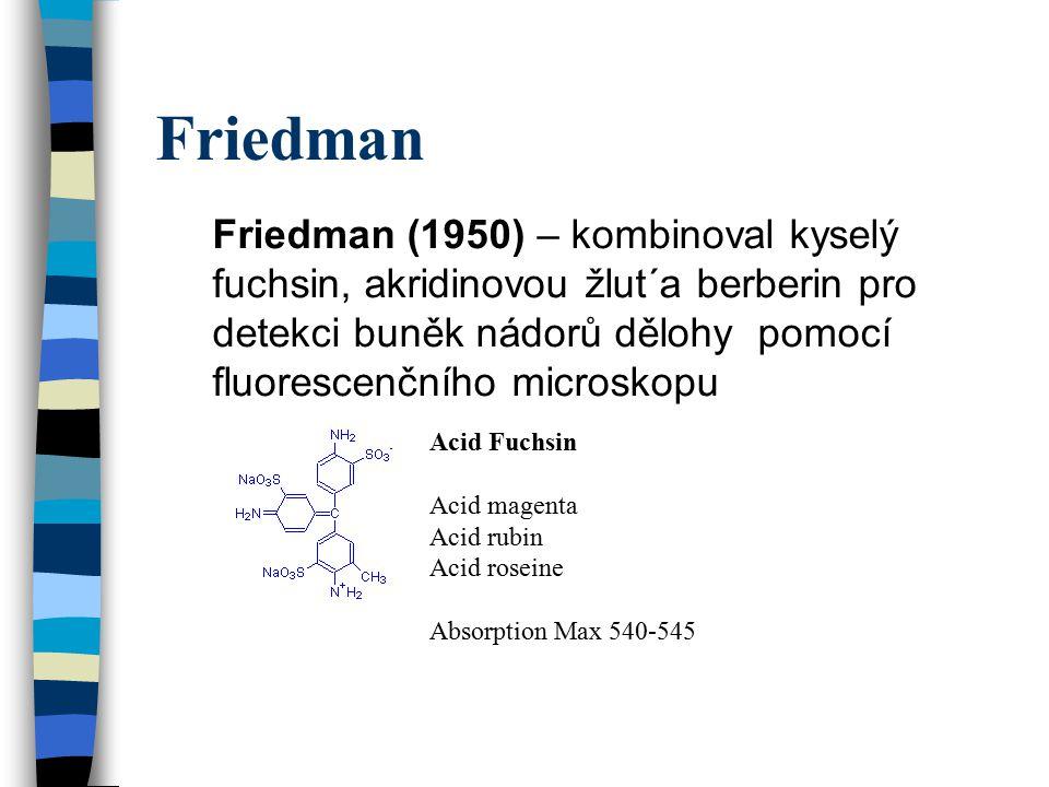 Friedman Friedman (1950) – kombinoval kyselý fuchsin, akridinovou žlut´a berberin pro detekci buněk nádorů dělohy pomocí fluorescenčního microskopu.