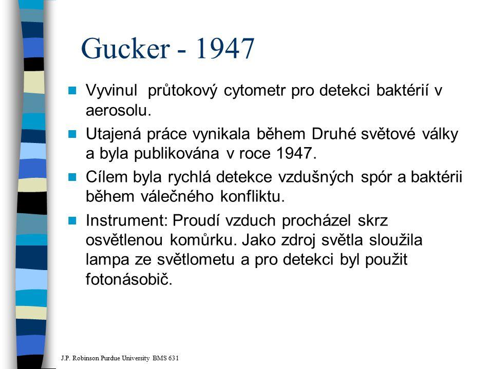 Gucker - 1947 Vyvinul průtokový cytometr pro detekci baktérií v aerosolu.