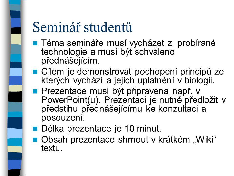 Seminář studentů Téma semináře musí vycházet z probírané technologie a musí být schváleno přednášejícím.