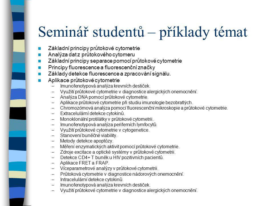Seminář studentů – příklady témat
