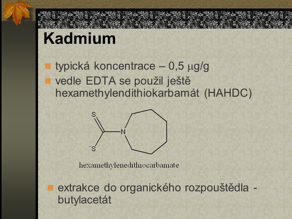 Kadmium typická koncentrace – 0,5 mg/g