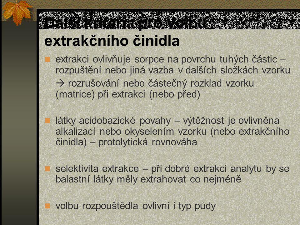 Další kriteria pro volbu extrakčního činidla