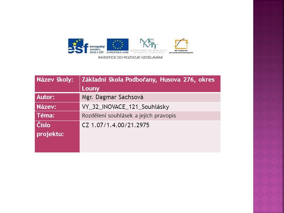 Název školy: Základní škola Podbořany, Husova 276, okres Louny. Autor: Mgr. Dagmar Sachsová. Název: