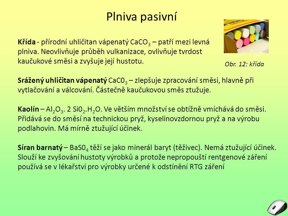 Plniva pasivní Křída - přírodní uhličitan vápenatý CaCO3 – patří mezi levná. plniva. Neovlivňuje průběh vulkanizace, ovlivňuje tvrdost.