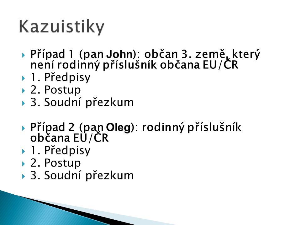 Kazuistiky Případ 1 (pan John): občan 3. země, který není rodinný příslušník občana EU/ČR. 1. Předpisy.
