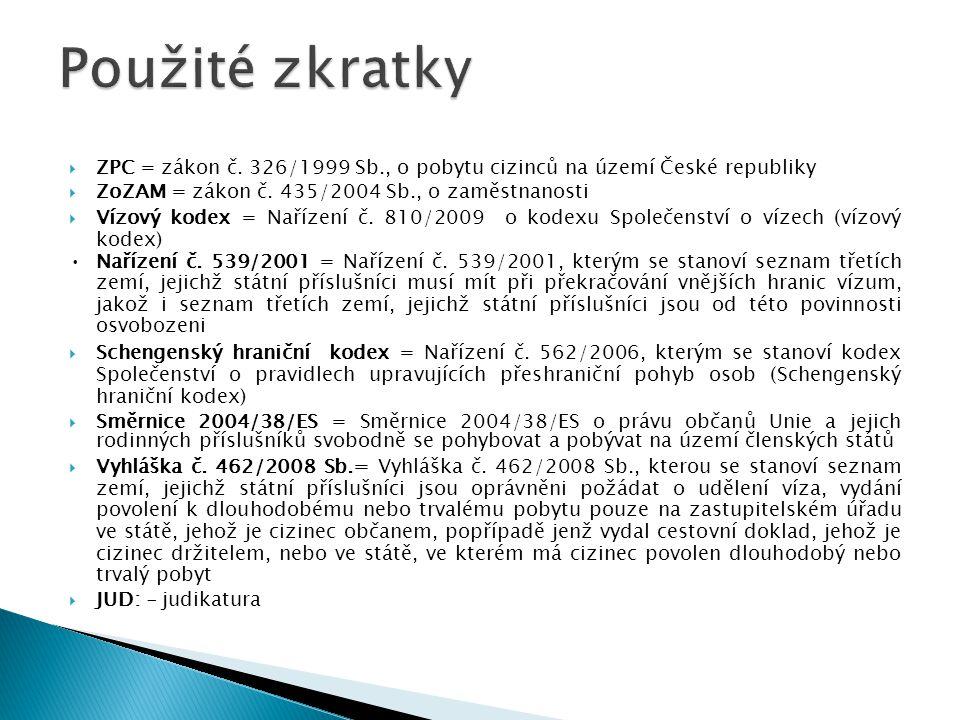 Použité zkratky ZPC = zákon č. 326/1999 Sb., o pobytu cizinců na území České republiky. ZoZAM = zákon č. 435/2004 Sb., o zaměstnanosti.