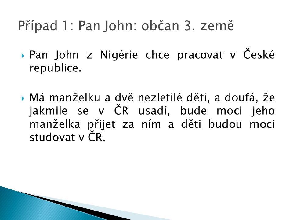 Případ 1: Pan John: občan 3. země