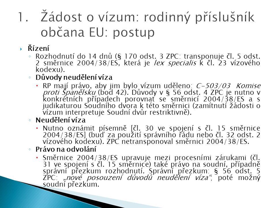 Žádost o vízum: rodinný příslušník občana EU: postup